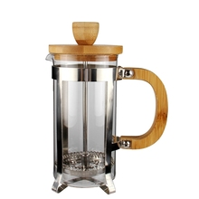 French Press Coffee Maker Pot with Wood handle 2 Cup 3Cup 4Cup  12oz 20oz 27oz 350ml 600ml 800ml
