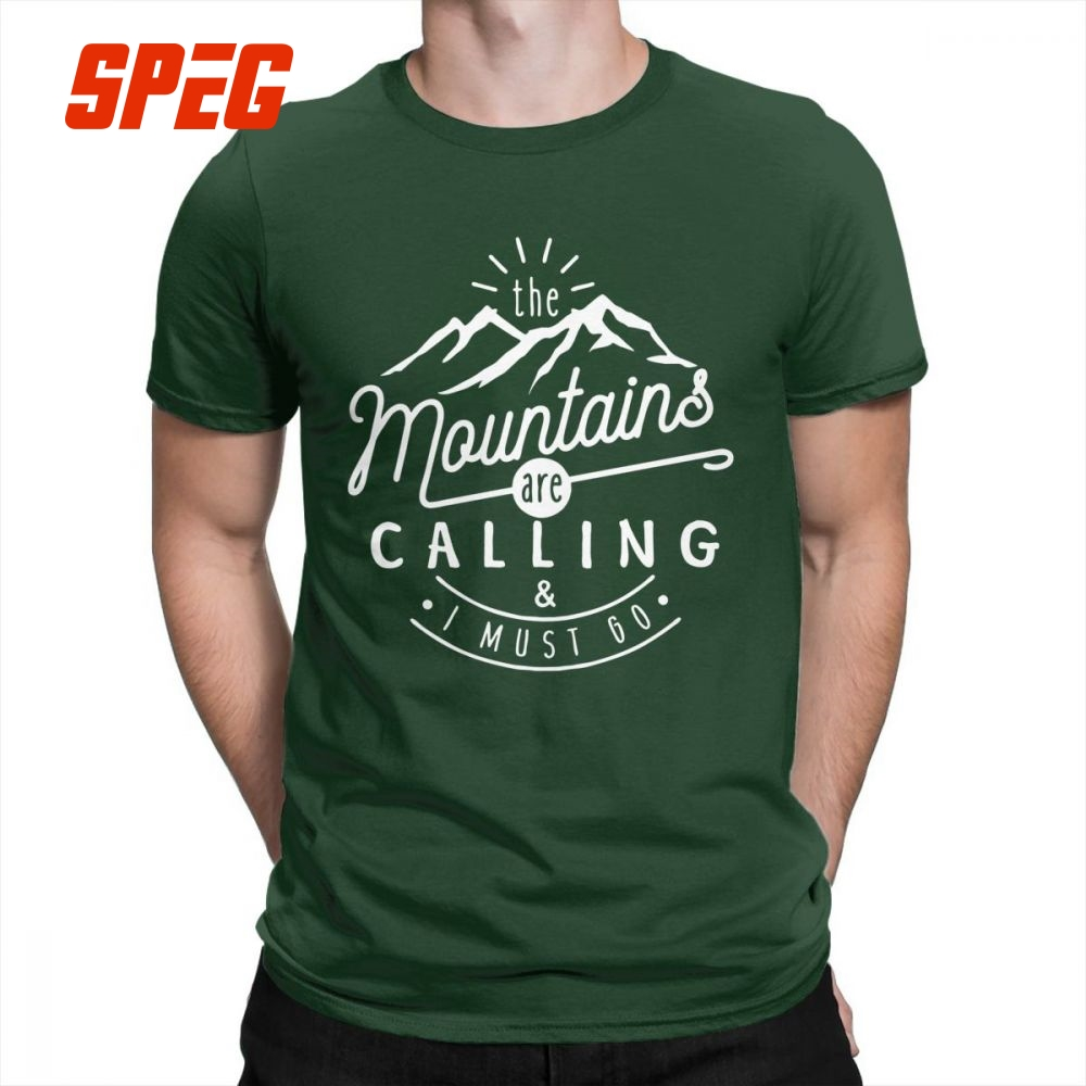 The Mountains Are Calling And I Must Go Hiking   T     Shirts   Men Printed Tops Vintage   T  -  Shirts   Crew Neck 100% Cotton Tees