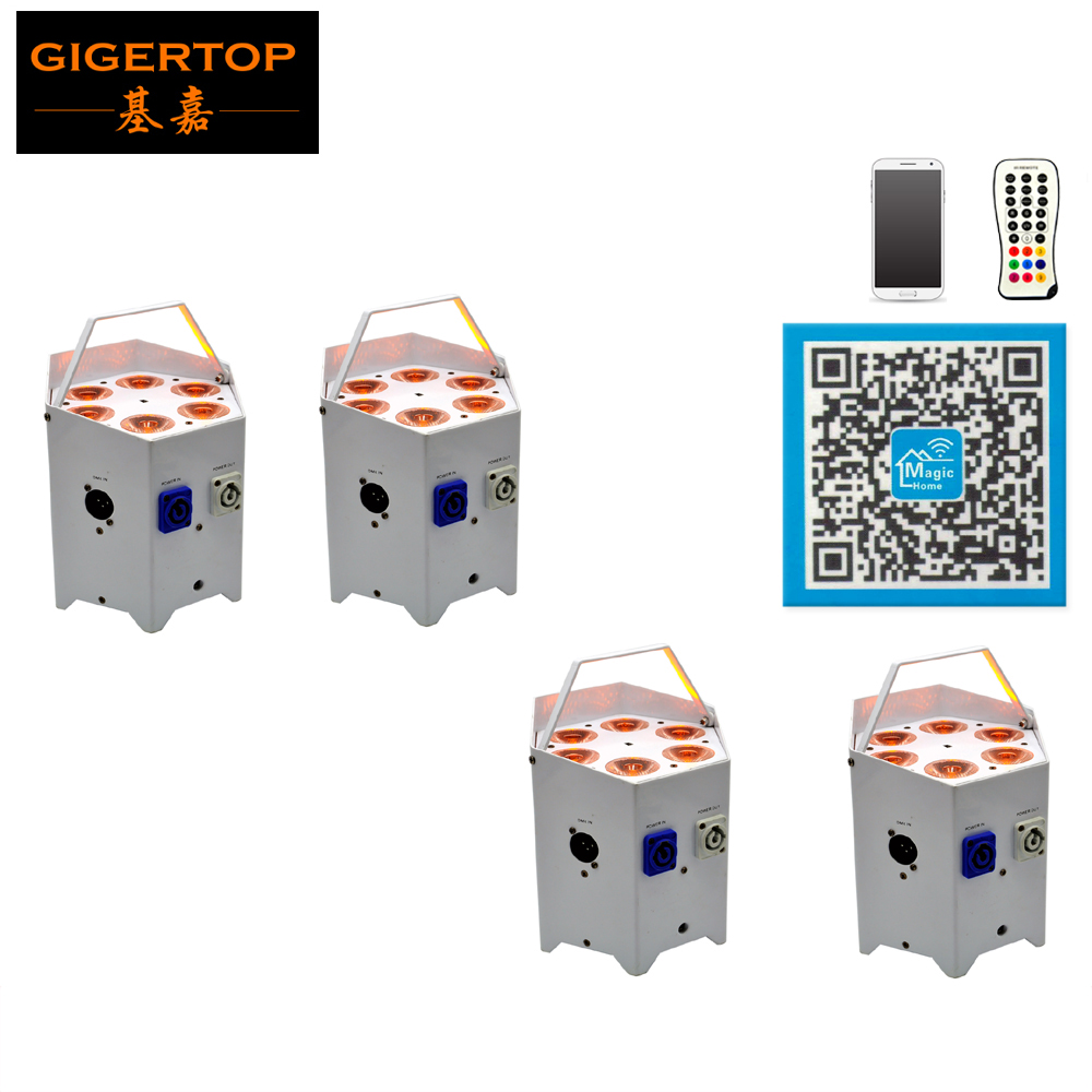 Freeshipping 4 Unit Battery Powered Led Stage Lighting RGBWA 5in1 Hexagon White Stand Led Par Lighting 4 Button Display CE ROHS