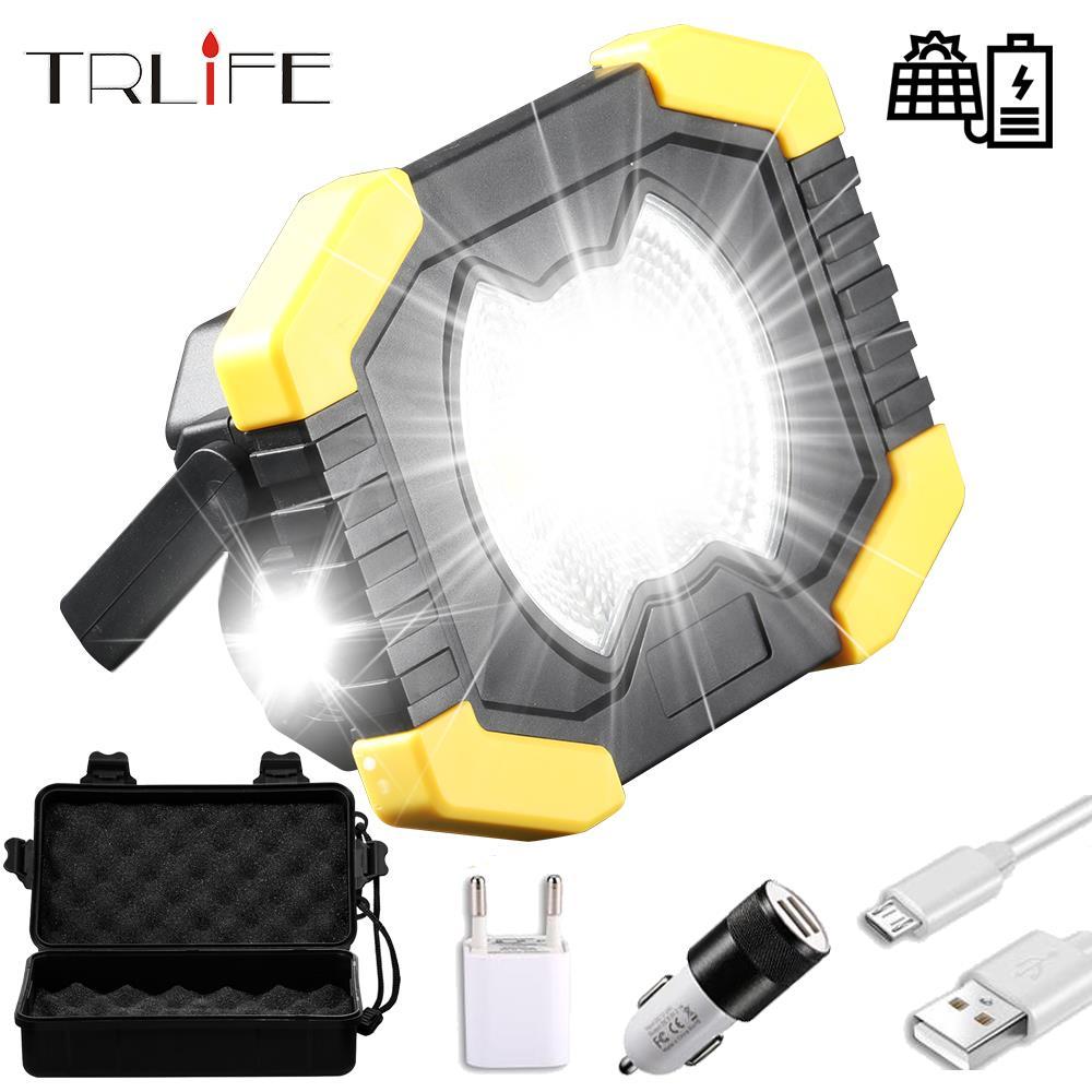 20W Solar Light Portable Work Spotlignt Built-in 2400mAh Camping Light Lantern USB Rechargeable COB LED Flashlight Searchlight