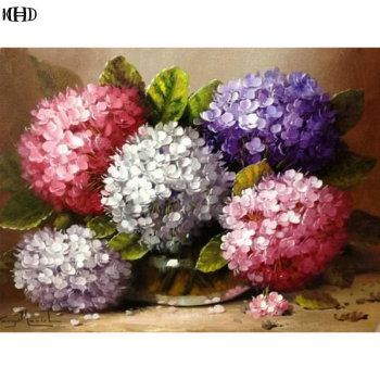 MHD Full square diamond embroidery Hydrangea 5D DIY diamond mosaic cross stitch flowers picutre of rhinestones home decoration