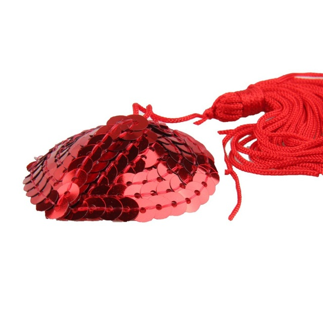 Self Adhesive Sequin Tassel Decoration Cover Heart Shape Bra Nipple Cover Pasties