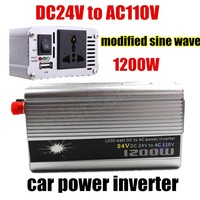 Portable Car Charger 1200W WATT DC 24V to AC 110V 50 Hz Car Bus Auto Voltage Power Inverter Converter Transformer Power Supply