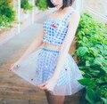 Super Cute Hot Spring Cherry Blue Plaid Checks 3pcs Padded Camisole Tops & Triangel Panties & Skirt Fabric Bikini
