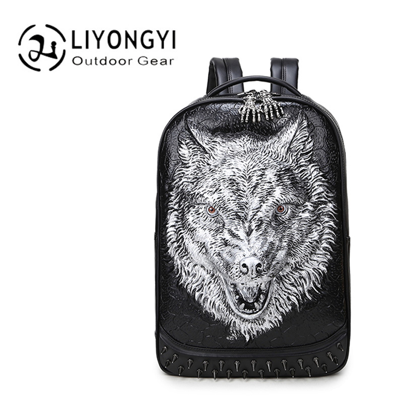 Fashion stylish Men's backpacks 3D wolf head backpack special cool shoulder bags for teenage Boys PU Leather laptop school bags