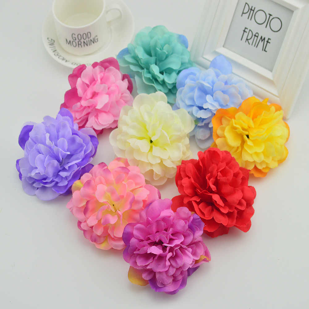100pcs 10cm Slik roses head for home wedding decoration bridal accessories clearance Fake peony diy wreath artificial flowers