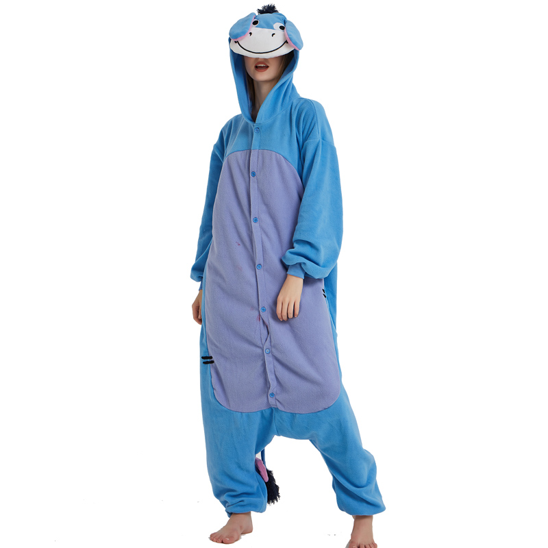 Halloween Cosplay Adult Anime Animal Eeyore Donkey Pajamas One Piece Unisex Onesie Party Costumes Sleepwear Jumpsuit (5)