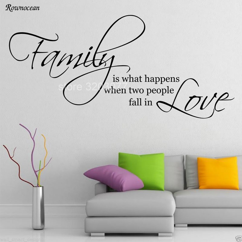 Family Love Quotes Wall Art Sticker bedroom & Living Room Decal Artistic font Mural DIY Poster Vinyl Adesivo De Parede H511 ...