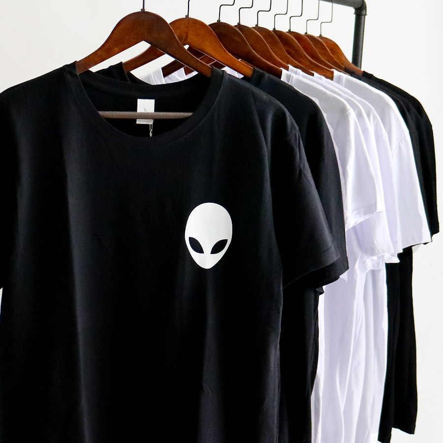 Черно-белый топ с рисунком Инопланетянина на груди, с принтом Джокера, с круглым вырезом и рукавами, Повседневная футболка, Мужская свободная летняя крутая футболка