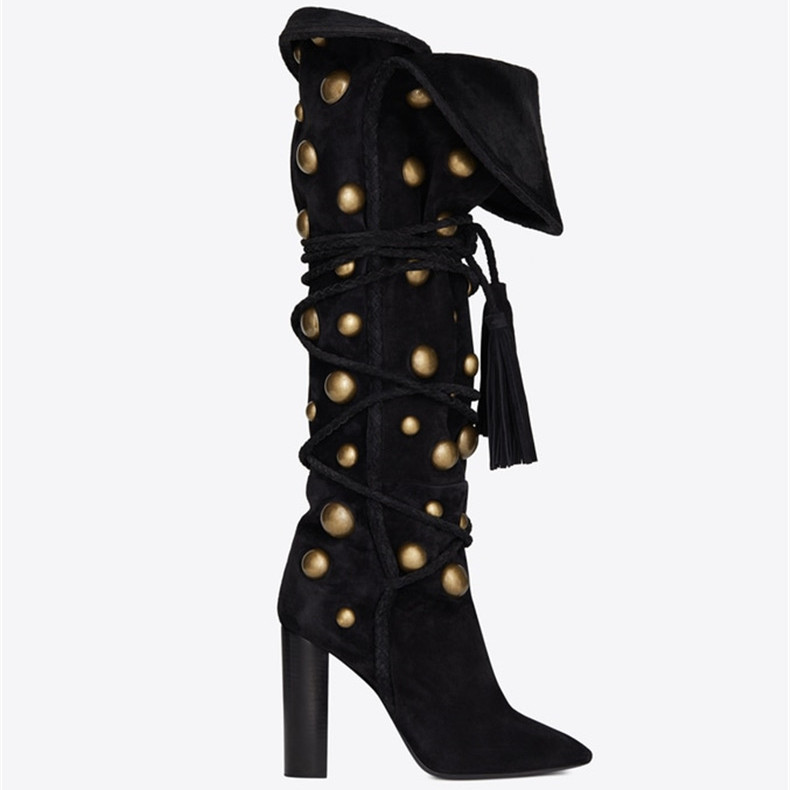 The Newest Winter Women Rivets Long Boots Ladies Pointed Toe Ankle Strap Shoes Woman Square High Heels Knee High BootsThe Newest Winter Women Rivets Long Boots Ladies Pointed Toe Ankle Strap Shoes Woman Square High Heels Knee High Boots