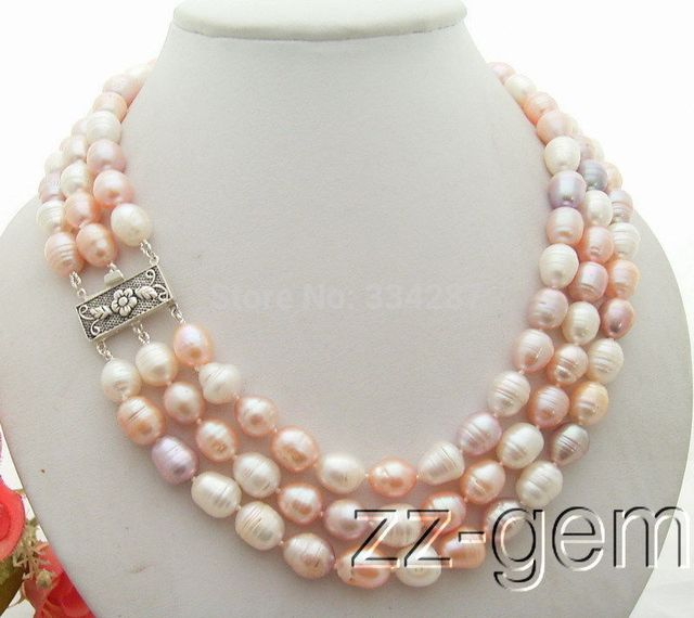 100% Selling full 3Strds 12MM Pearl Necklace
