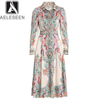 AELESEEN Runway Dress Elegant 2019 Spring Summer Women's Full Sleeve Floral Print Knee Length Ethnic Vintage Dress
