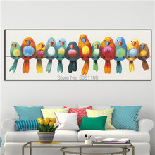 Hand Painted Large long Abstract Birds Oil Painting multi color Modern Wall Decor Art Pictures blue orange bird canvas art gift
