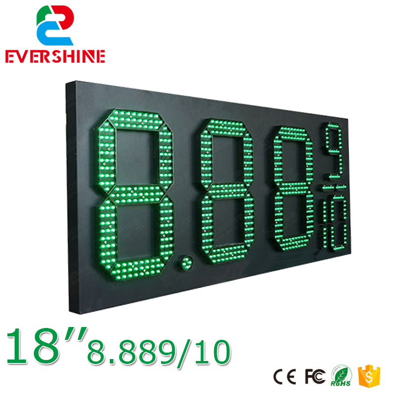 18'' 8889/10 outdoor waterproof 7 segment digital led gas price sign/led oil station display/led fuel gasoline board panel 100 pcs ld 3361ag 3 digit 0 36 green 7 segment led display common cathode