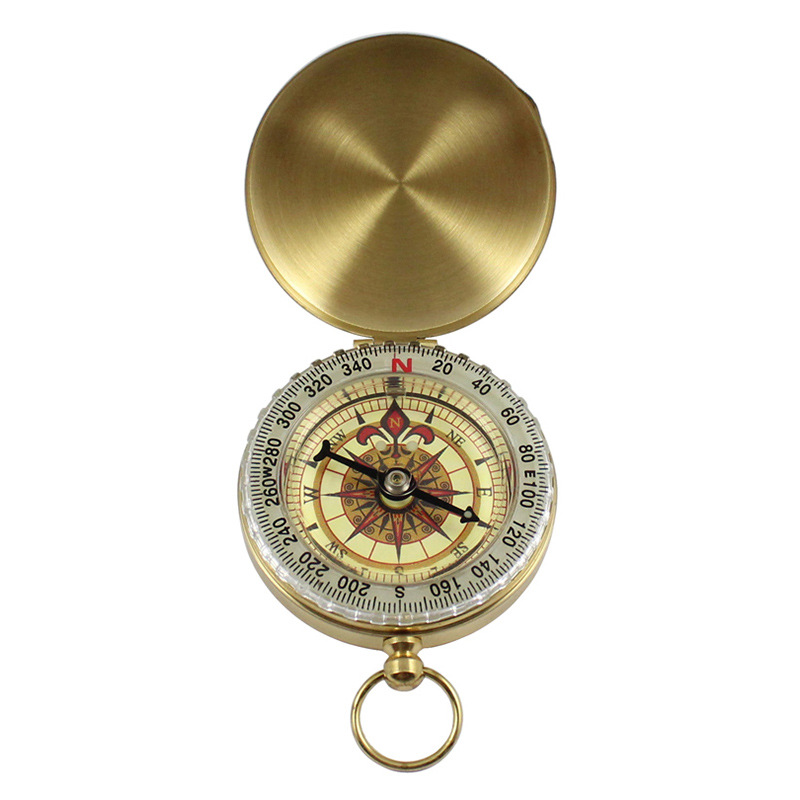 Compass New Outdoor Camping Hiking Portable Pocket Brass Gold Color Copper Compass Navigation With Noctilucence Display