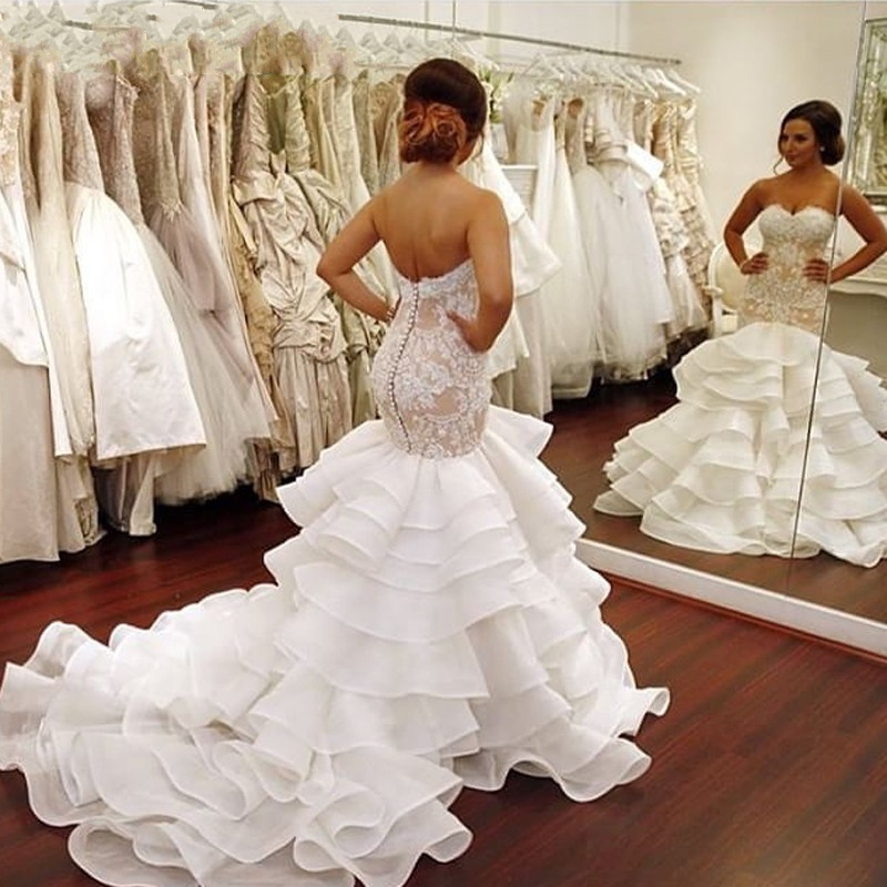Sexy Tiered Mermaid Wedding Gowns 2019 Cheap Beach Garden Sweetheart Lace Organza Custom Made Princess Bridal Gowns in Dresses from Women 39 s Clothing