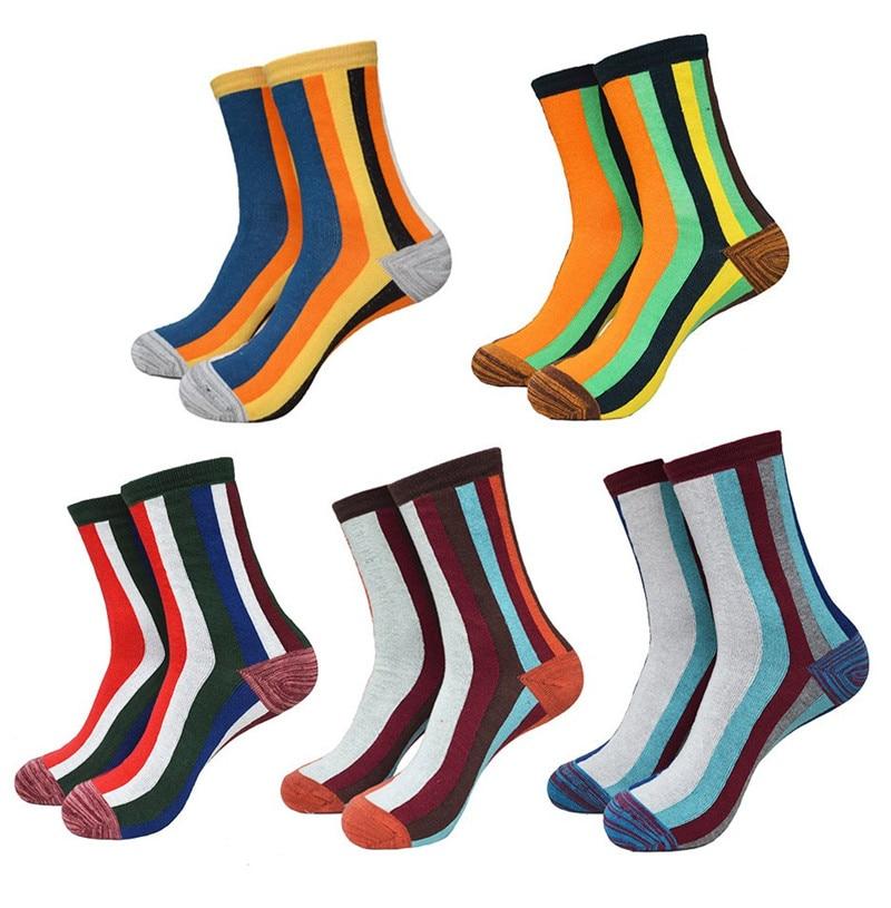 5Pair New Fashion Striped Brand Happy Socks Men Casual Pure Cotton Mens Socks Male Colorful Business Dress Socks Harajuku Sox
