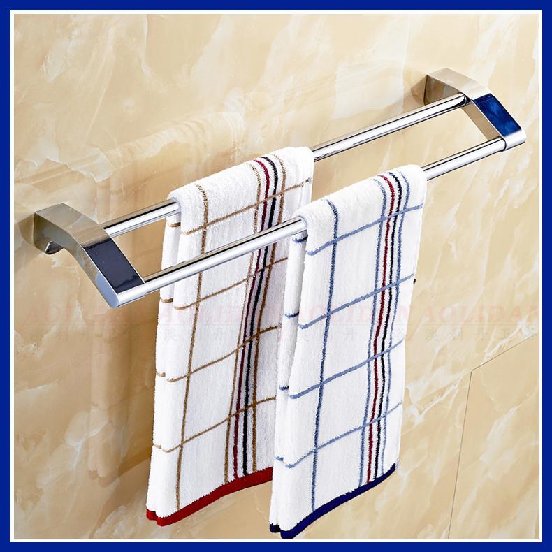 ФОТО stainless steel bathroom double towel bar