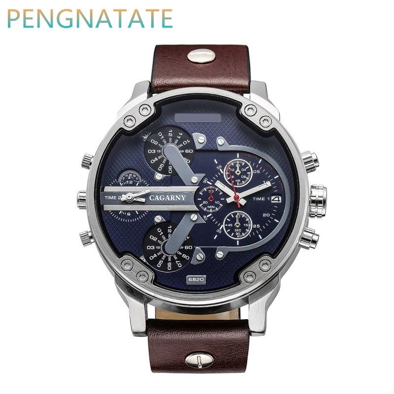 Luxury Brand Men Quartz Watch Dual Movement Watch CAGARNY Man Waterproof Outdoor Sport Military Calendar WristWatch
