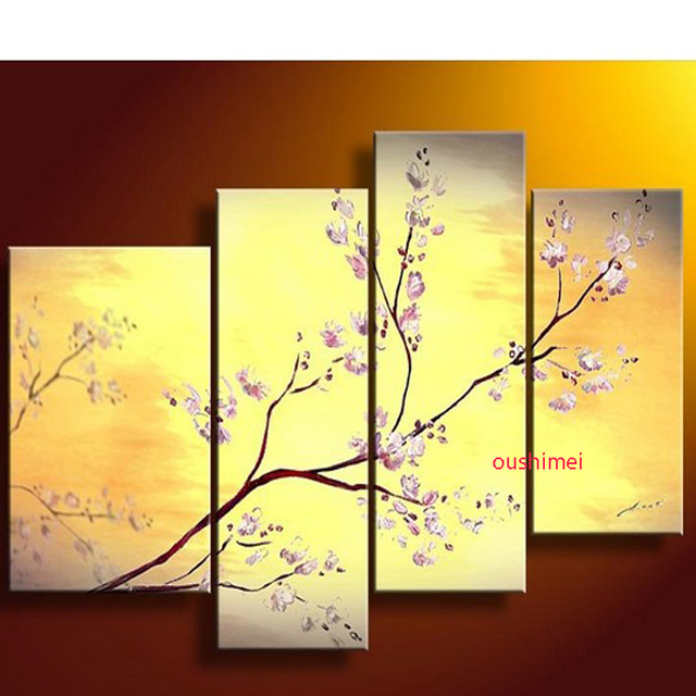 Hand Painted 4pcs Pictures On Canvas White Flowers Oil Painting ...