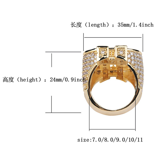 Hip Hop Micro Paved AAA Cubic Zirconia Bling Ice Out US Dollar Rings for Men Hiphop Rapper Jewelry Gold Silver