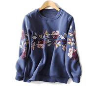 TOP QUALITY New Embroidery Hoodies Tops Women's Fashion Loose Velour Sweatshirt Hoodies S XL