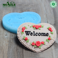 Nicole R0418 Custom Heart Shaped Silicone Soap Molds Silicone Chocolate Mold Fondant Roses Heart Wedding Decorative