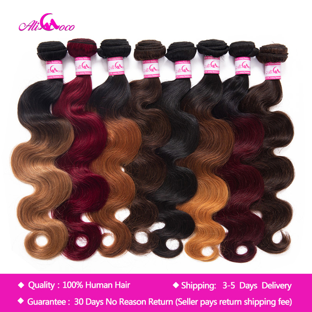 Али Коко малазийские прямые пучки волнистых волос 1/3/4 Связки 8-30 дюймов объемная волна сделок не Remy Omber hair 100% Пряди человеческих волос для нар...