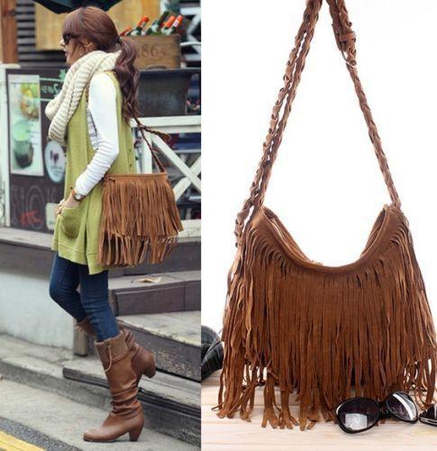 Women Retro Trending Cross Body Bag Tassel Scrub Faux Suede Fringe Messenger Shoulder Handbag
