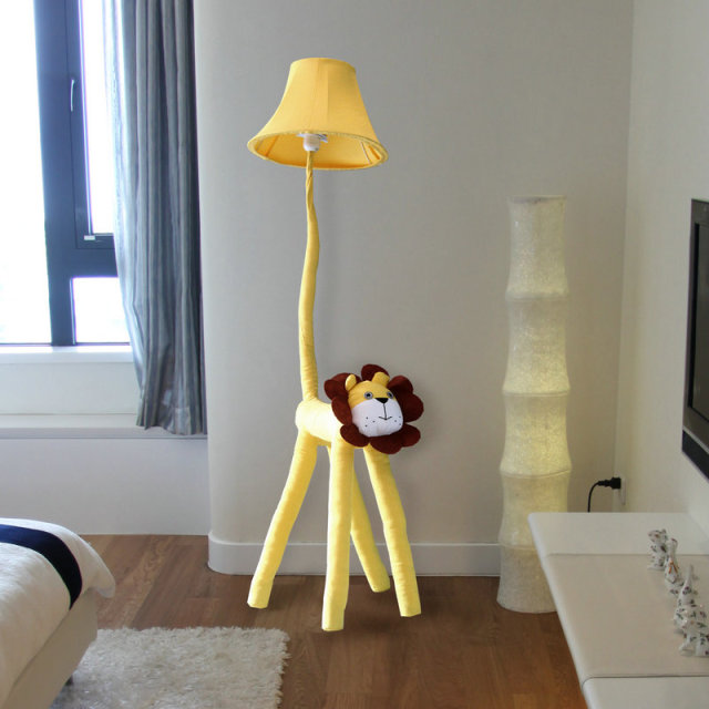New Modern Cartoon Lion Design Cloth Floor Lamp For Kid S Room Study 125x31cm