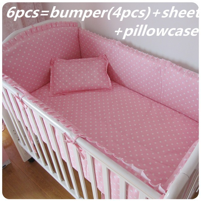 6/7PCS Pink Dot Baby Bedding On Sale Cot Bedding Set Breathable Crib Protector Baby Cot Bedding Set ,120*60/120*70cm