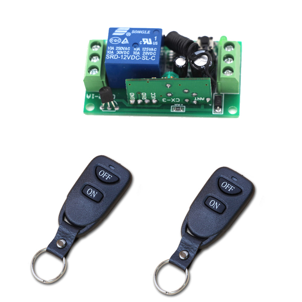 DC24V 12V 9V Remote Control Relay 1CH Wireless RF Remote Control Switch Transmitter with Receive For Electric Gates Doors dc24v remote control switch system1receiver