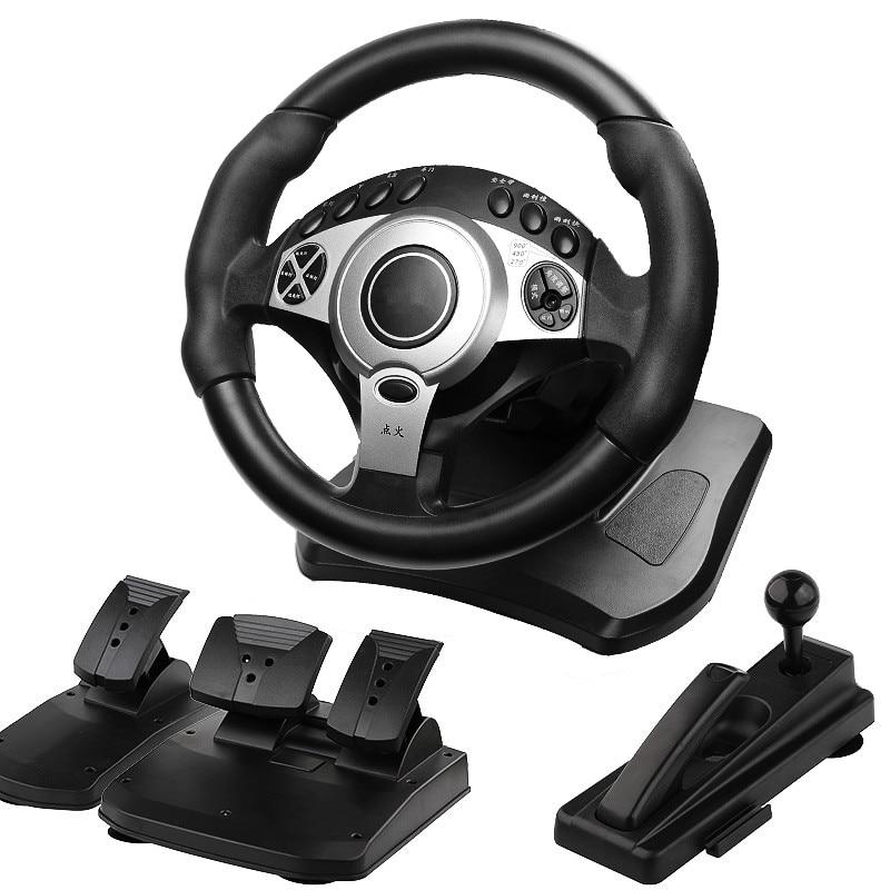 900 degrés jeux de course volant ordinateur apprentissage voiture simulation machine de conduite accélérateur frein levier de vitesse ensemble complet - 2