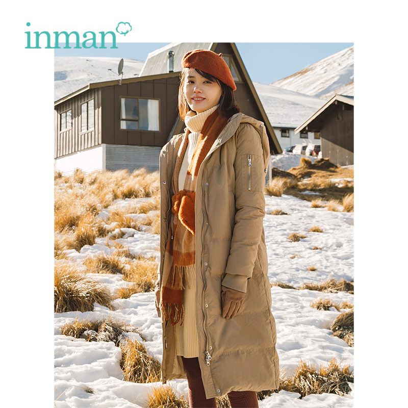 INMAN Winter New Arrival Hooded Long Style All Matched Warm Women Down Coat