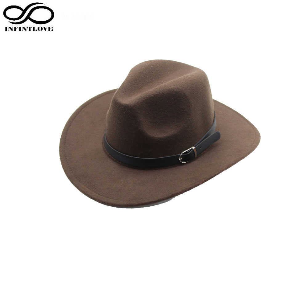 6b7b4543c84c4 LUCKYLIANJI Men Women Unisex Country Cowboy Western Leather Band Hat Fedora  Trilby Wool Felt Jazz Chapeu Cap (One Size 57cm)-in Cowboy Hats from Men s  ...