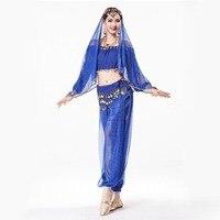 Sari Indian Clothing 4 piece Sequin Chiffon Long Sleeve Top, Coin Waist Belt, Dance Veil Headpiece Indian Pants for Women