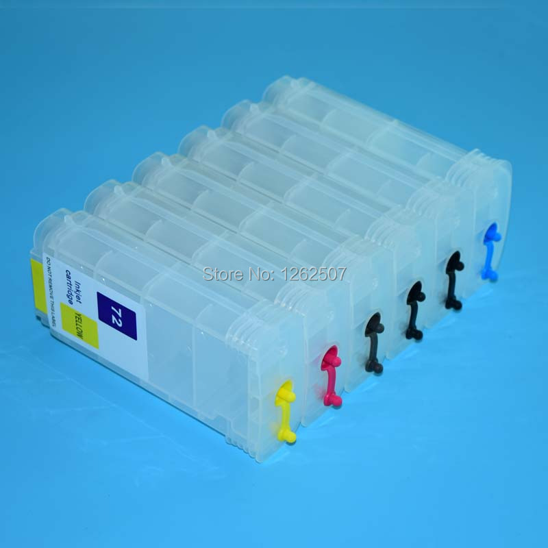130ml * 6color HP72 Refillable Ink Cartridges For HP Designjet T1100 T1120 T1300 T2300 72 C9403A C9370A Large Format Plotters