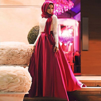 Red Muslim A line Prom Dresses 2019 Long Sleeves Evening Gowns Satin Floor Length Plus Size Party Dress With White Lace