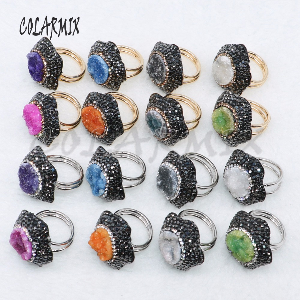 10 Pcs druzy stone rings custom jewelry wholesale jewelry women gift stone adjustable fashion Party Gem