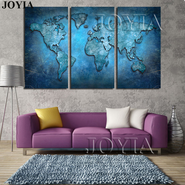Large Triptych Maps Wall Art World Map Abstract Dark Blue Global Lineament Canvas Prints For Home