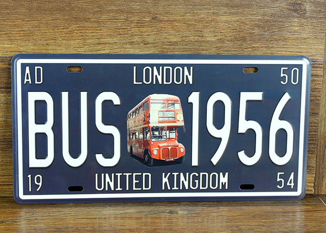 "car number ""london bus 1956 "" license plates plate vintage metal tin"