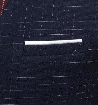 Для мужчин костюмы для торжественных случаев Вязаные Жилеты для женщин высокое качество синий маленький плед Мода молодой человек v-образн...