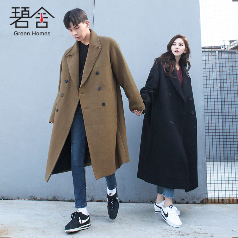 S-3XL! Large size male windbr 2018 The new south Korean winter wool coat has a long, loose double-breasted knee-length coat