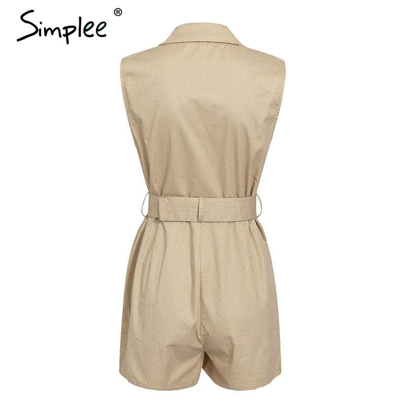HTB1ffAgUzDpK1RjSZFrq6y78VXaD - Simplee Elegant sashes khaki cotton women playsuit Summer pockets button zipper rompers short jumpsuit Office ladies overalls