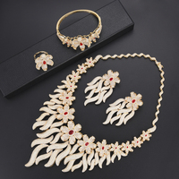 missvikki 6 Colors Trendy Luxury Jewelry Set Gold Bangle Earrings Necklace Ring Bridal Wedding Engagement Accessories
