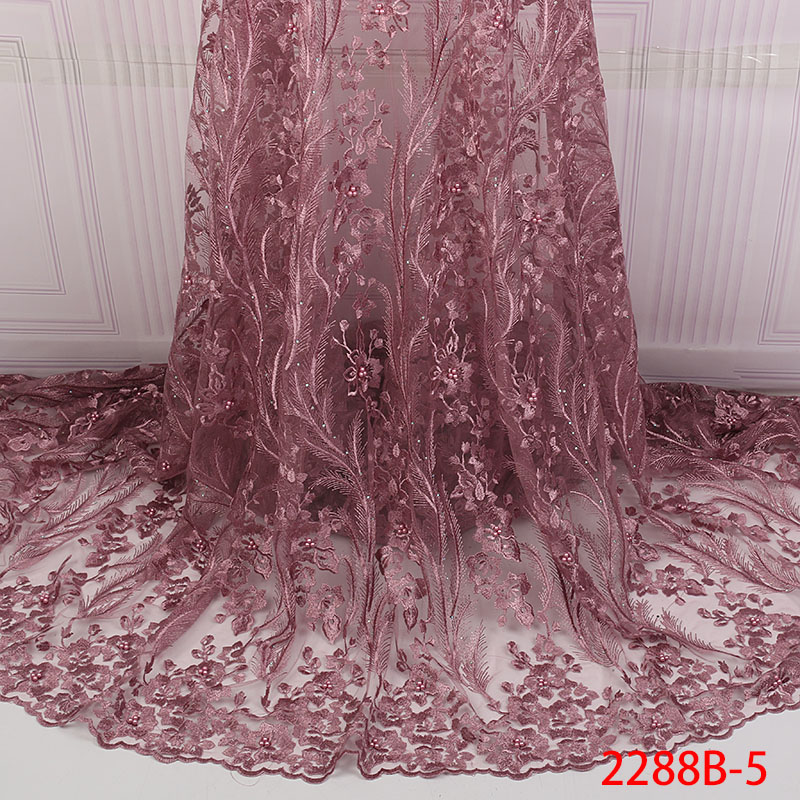 Image 5 - Mesh Lace Trim Latest African Laces 2019 Beads Red Lace  Embroidery Gold Lace Fabric Bridal Lace For Nigerian Dresses QF2288B  1Lace