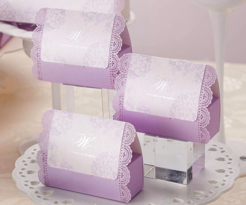 Elegant Purple Wedding Favor Candy Box With Laser Cut Lace Rendas Marriage Party Onie Dragee Chocolate Gifts Package 100pcs In Gift Bags Wring