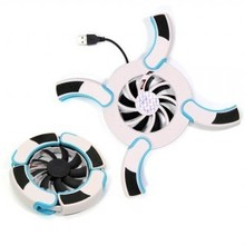 Blister card wind fire wheels folding belt blue light laptop cooling pad jlk-005(China (Mainland))