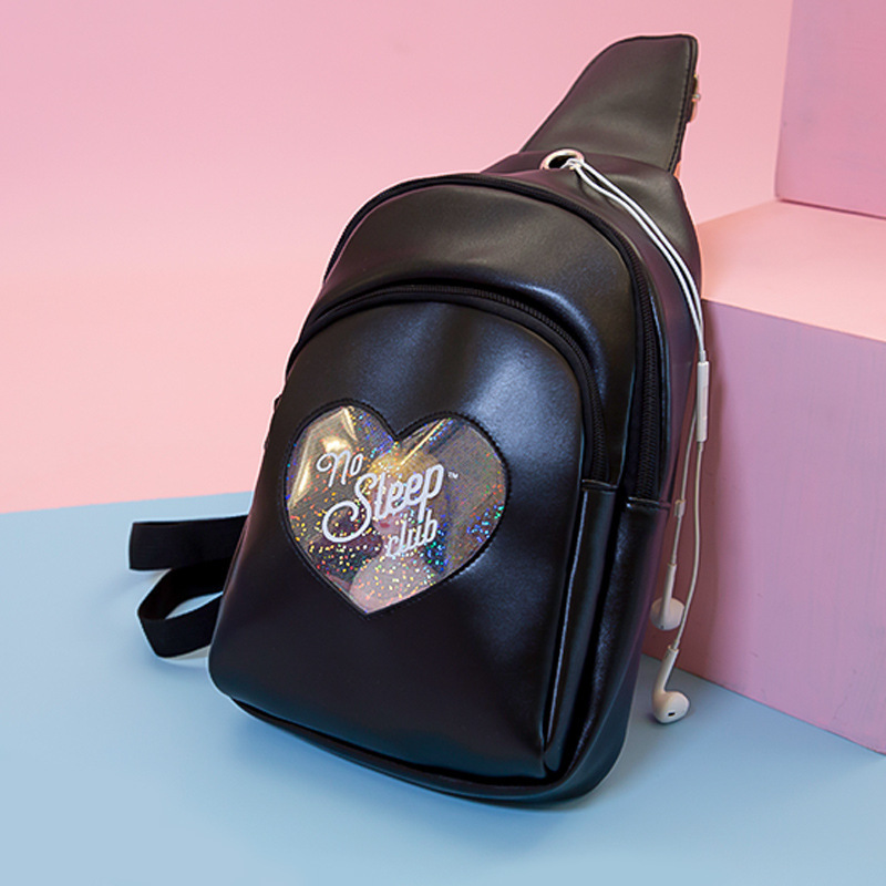 Milkjoy Diamond Love Girl Chest Bag Fresh Transparent Ins Wind Girl Multilayer Messenger Bag