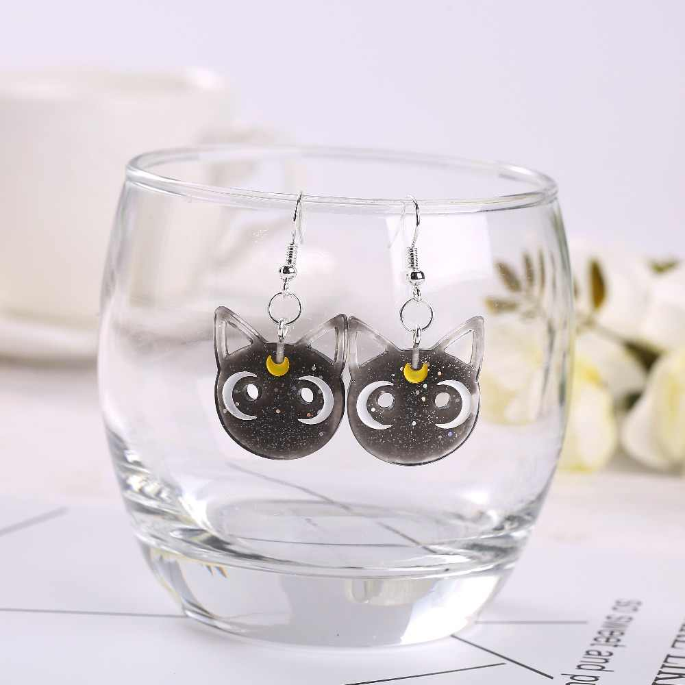 1pair Fashion Craft Resin moon cat Earrings For Women Japan/Korean Fashion Jewelry Wholesale